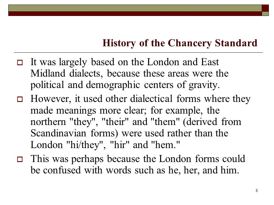 History of the Chancery Standard