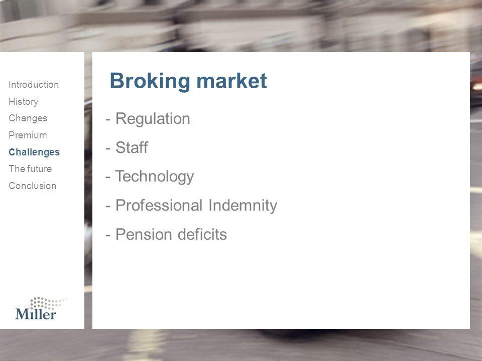 Broking market Regulation Staff Technology Professional Indemnity