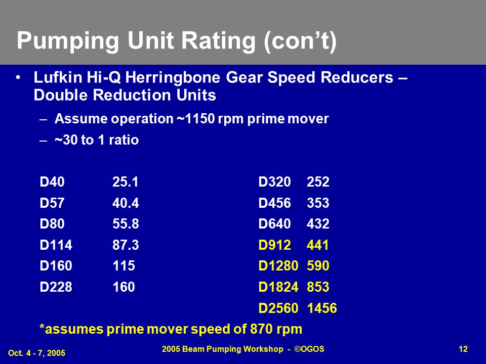 Pumping Unit Rating (con't)