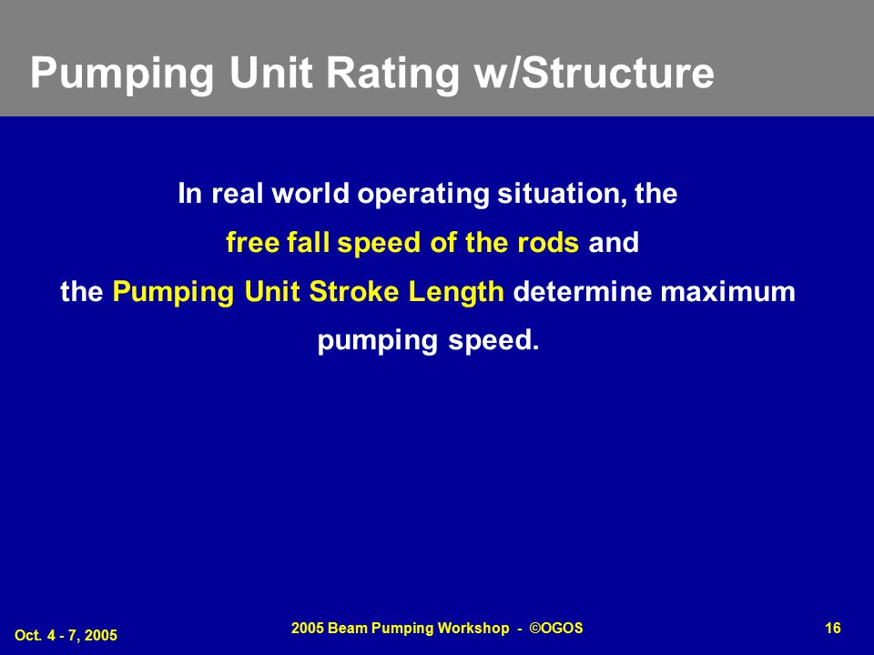 Pumping Unit Rating w/Structure