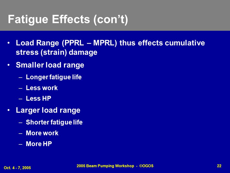 Fatigue Effects (con't)