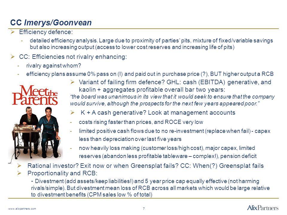 CC Imerys/Goonvean Efficiency defence: