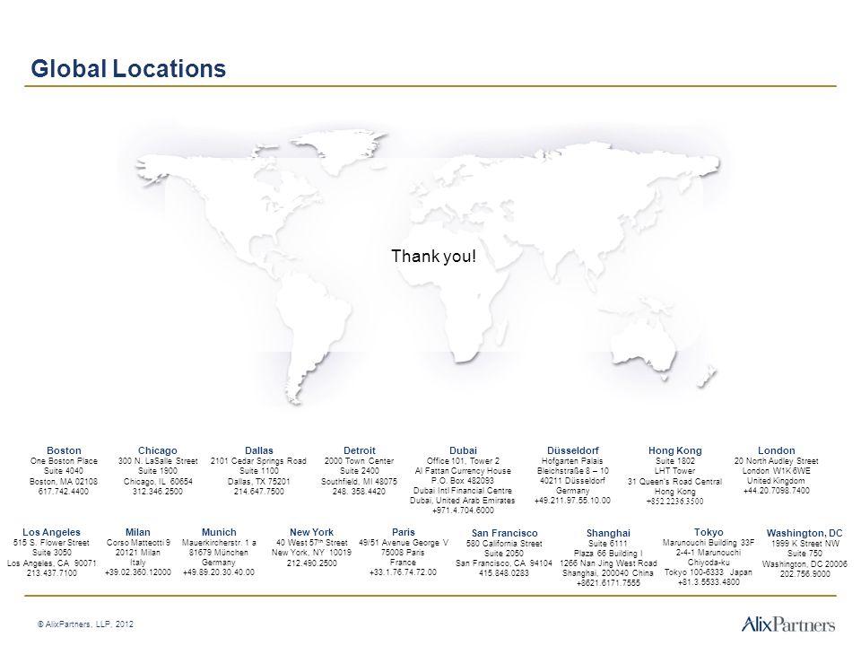 Global Locations Thank you! Boston Chicago Dallas Detroit Dubai