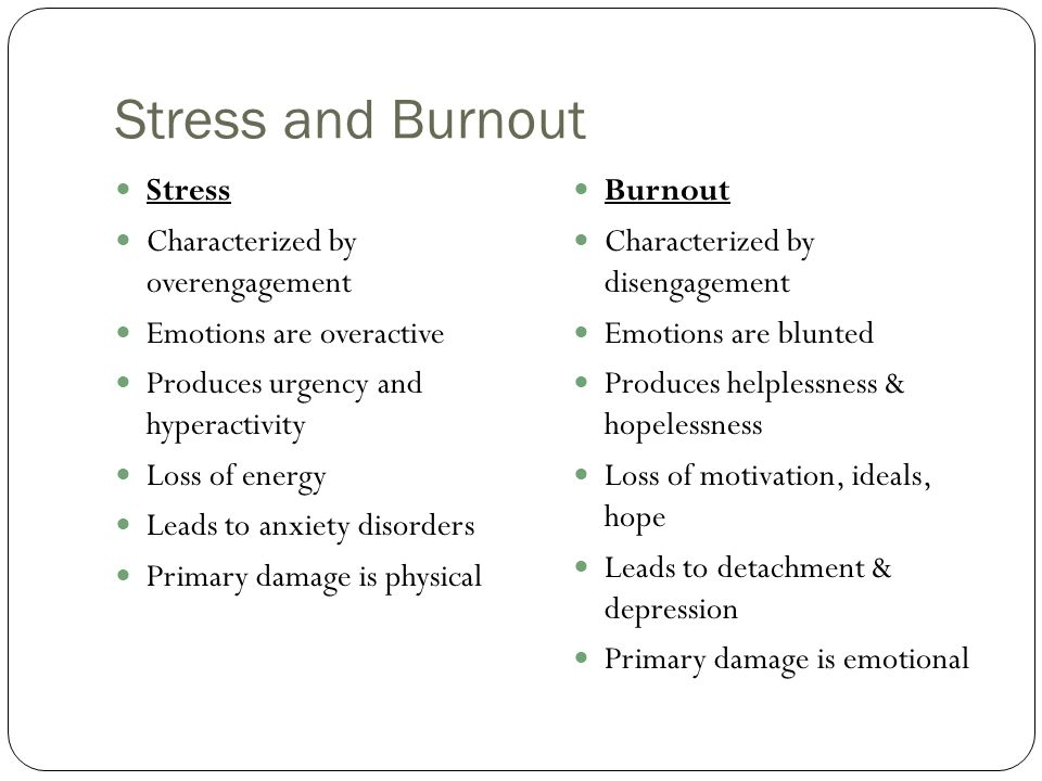 Stress and Burnout Stress Characterized by overengagement