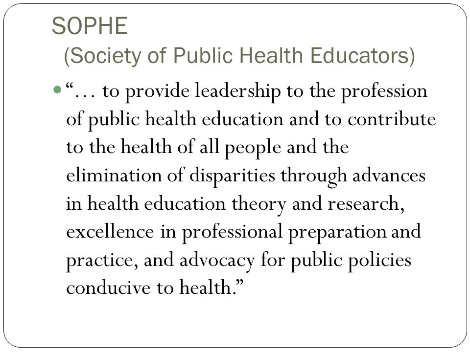 SOPHE (Society of Public Health Educators)