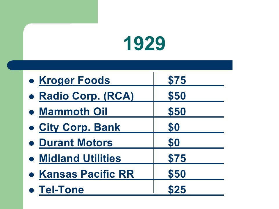 1929 Kroger Foods $75 Radio Corp. (RCA) $50 Mammoth Oil $50