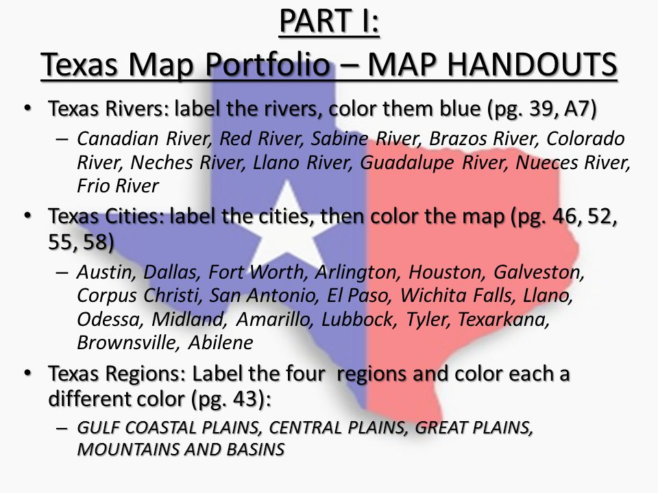 PART I: Texas Map Portfolio – MAP HANDOUTS