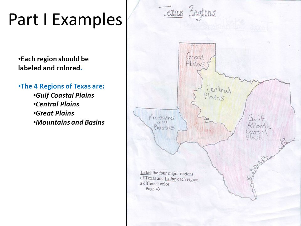 Part I Examples Each region should be labeled and colored.