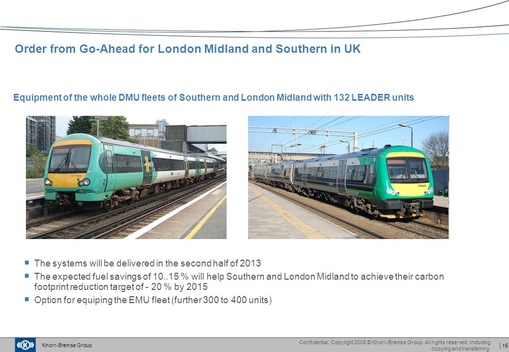 Order from Go-Ahead for London Midland and Southern in UK