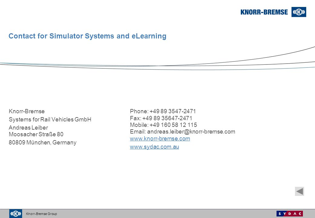 Contact for Simulator Systems and eLearning
