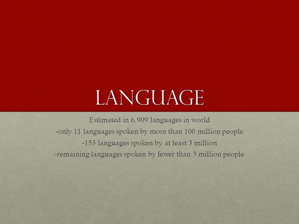 Language Estimated in 6,909 languages in world