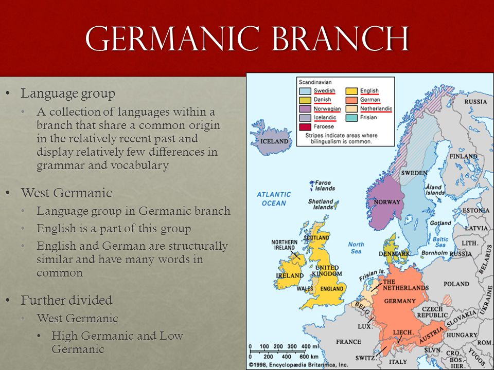 Germanic Branch Language group West Germanic Further divided