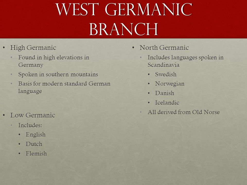West Germanic Branch High Germanic Low Germanic North Germanic
