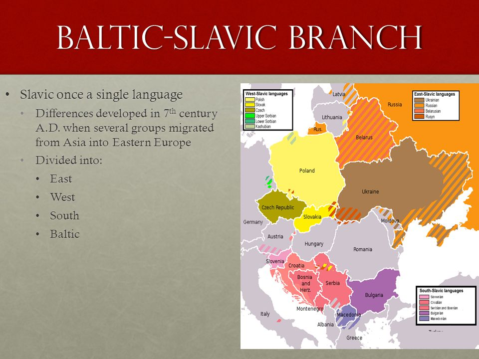 Baltic-Slavic Branch Slavic once a single language