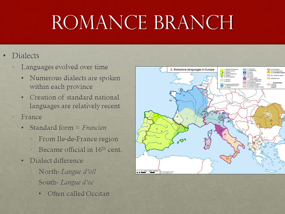 Romance Branch Dialects Languages evolved over time