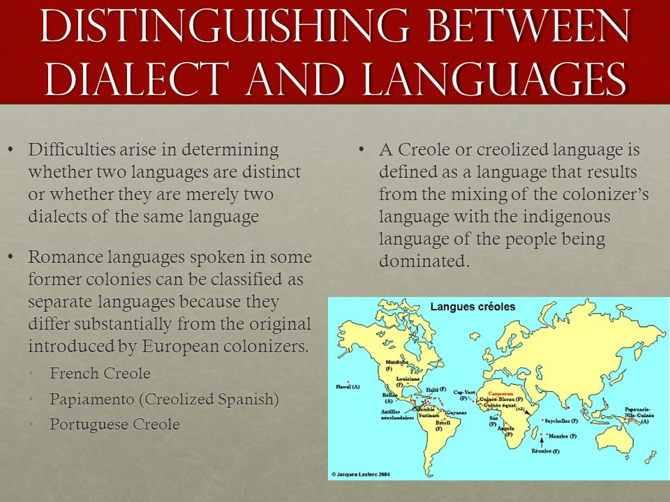 Distinguishing between Dialect and Languages