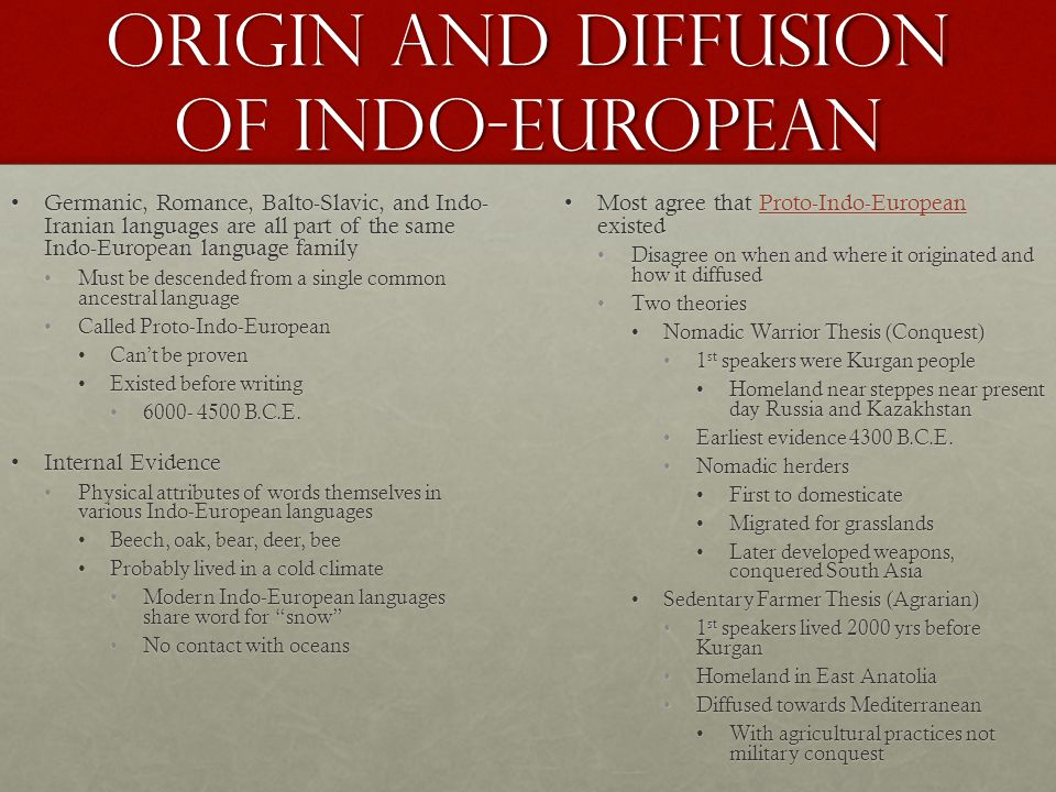 Origin and Diffusion of Indo-European