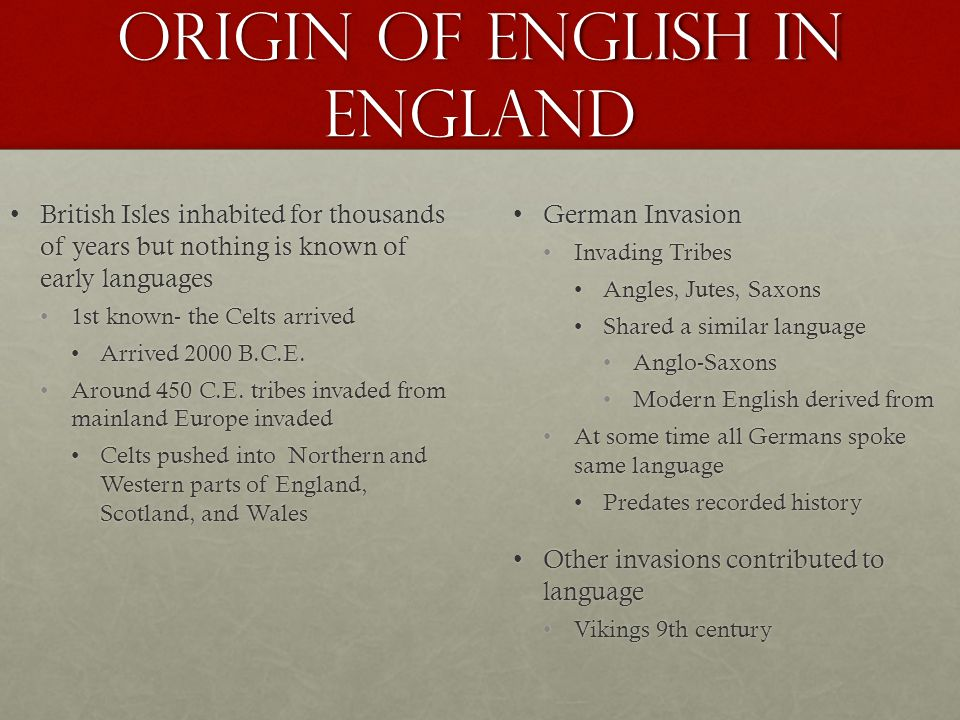 Origin of English in England