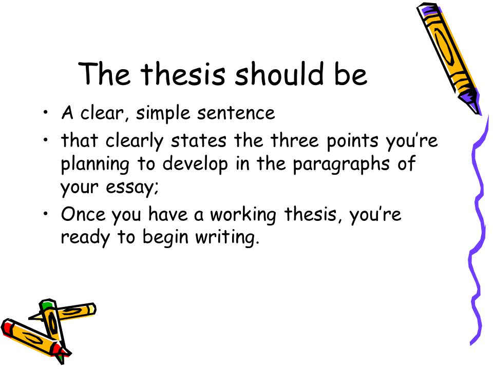 The thesis should be A clear, simple sentence