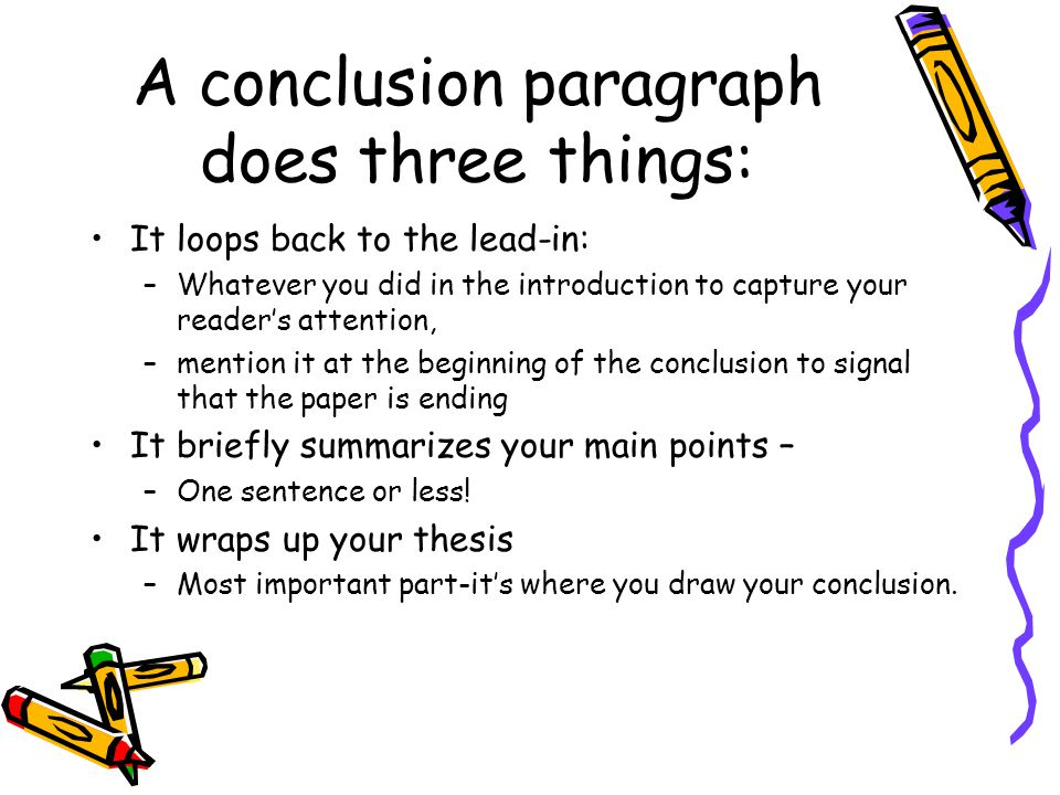 A conclusion paragraph does three things: