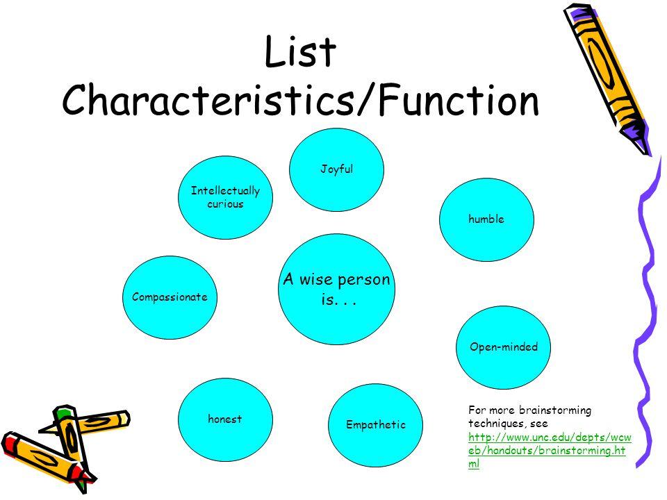 List Characteristics/Function