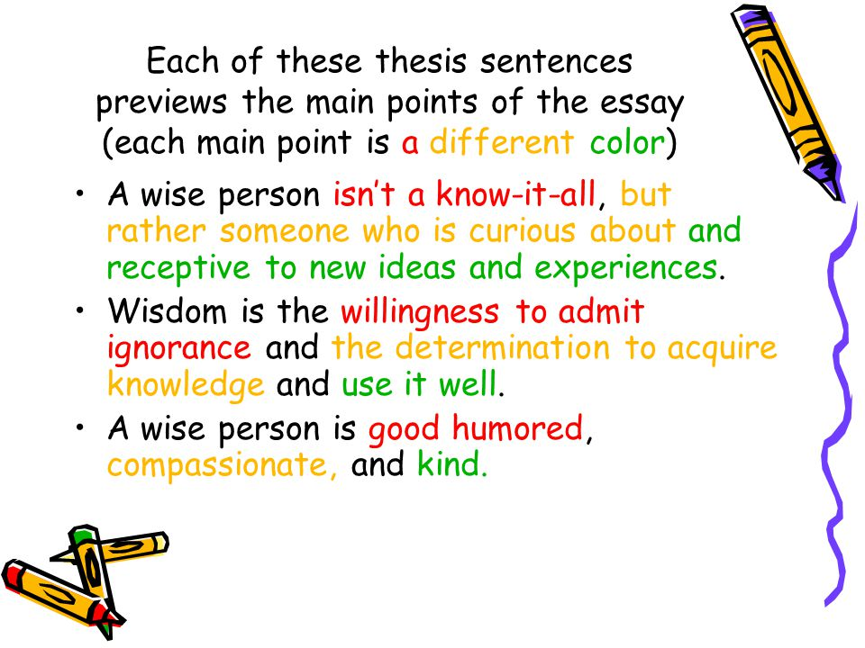 Each of these thesis sentences previews the main points of the essay (each main point is a different color)