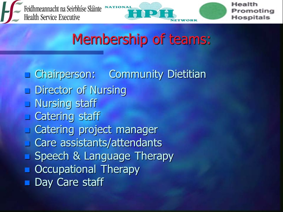 Membership of teams: Chairperson: Community Dietitian