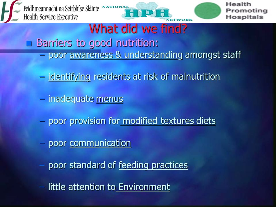 What did we find Barriers to good nutrition: