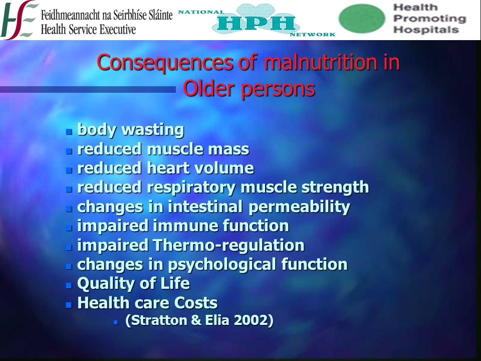 Consequences of malnutrition in Older persons