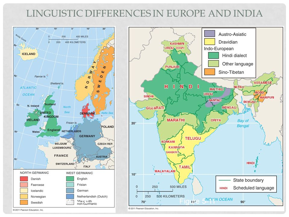 Linguistic Differences in Europe and India