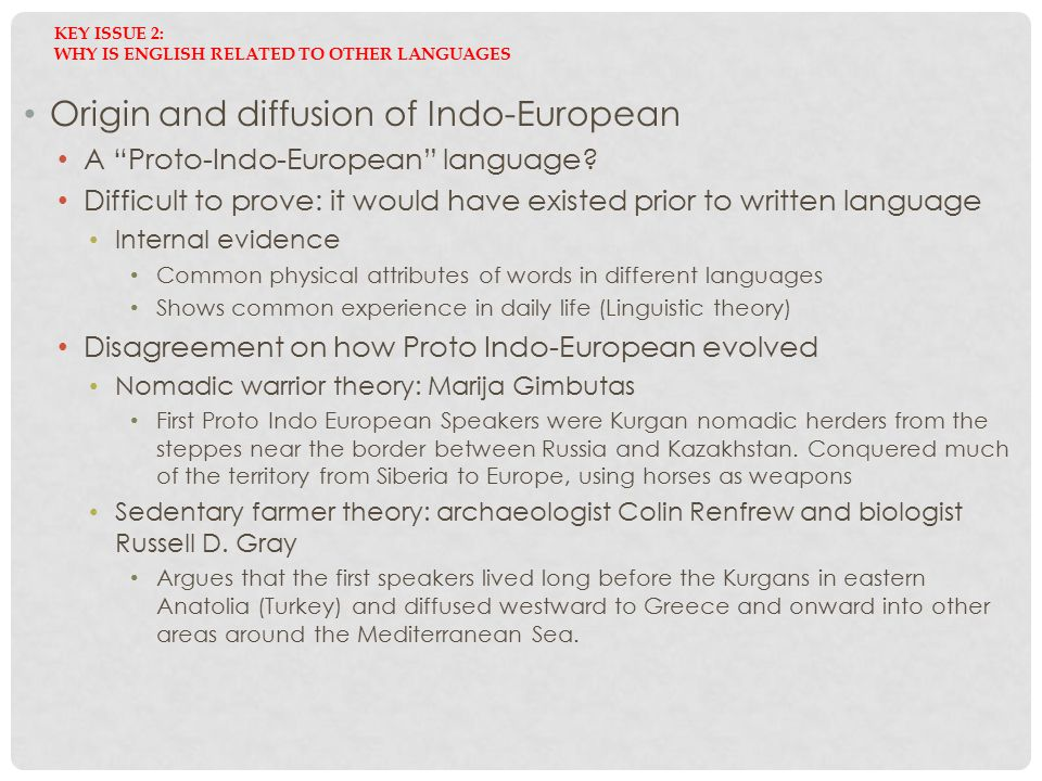 Key Issue 2: Why is English related to other languages
