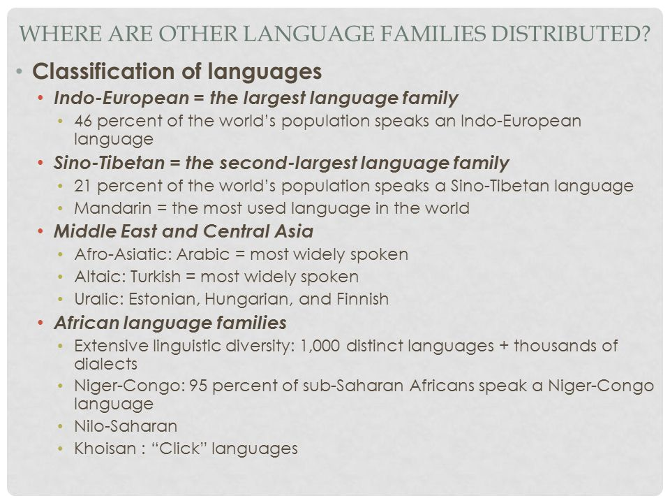 Where Are Other Language Families Distributed