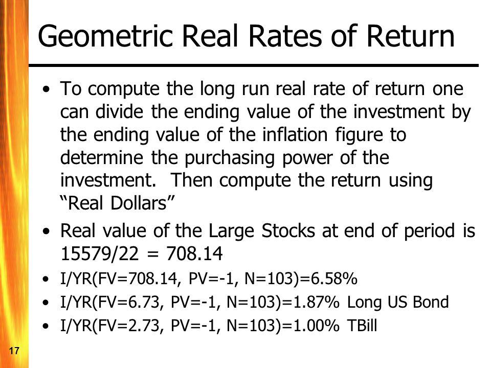 Geometric Real Rates of Return