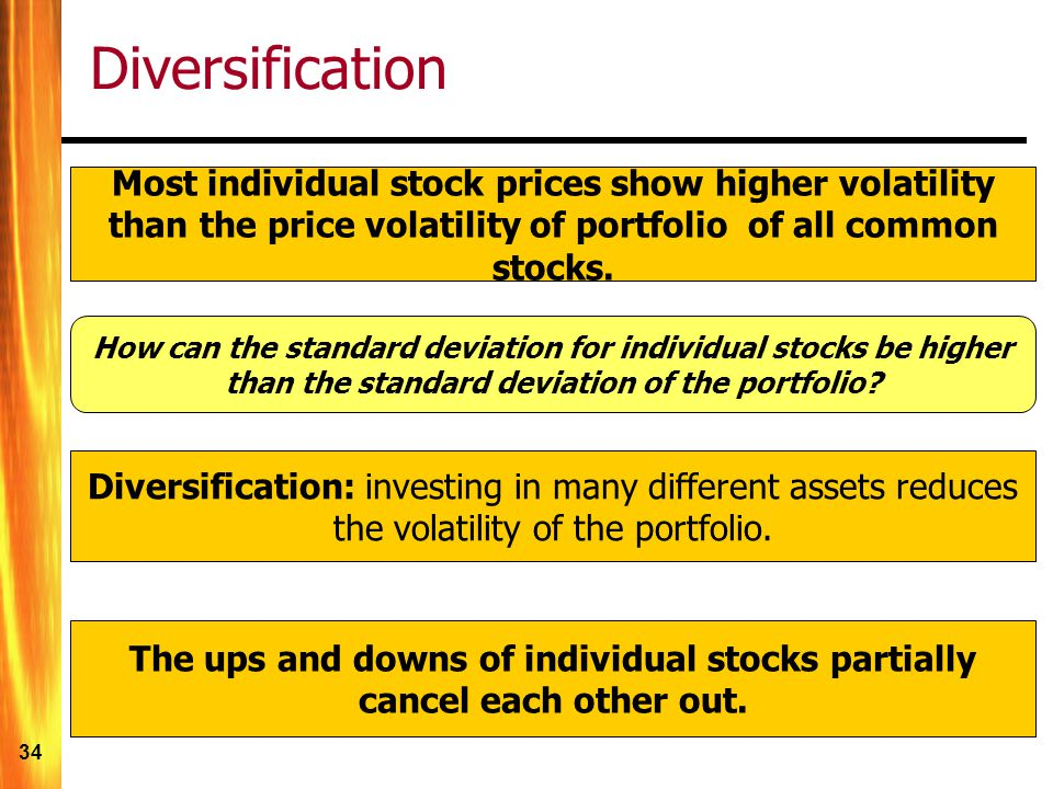 Diversification Most individual stock prices show higher volatility than the price volatility of portfolio of all common stocks.