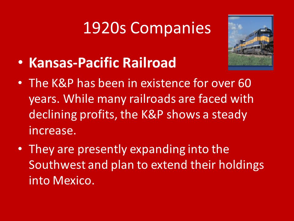1920s Companies Kansas-Pacific Railroad
