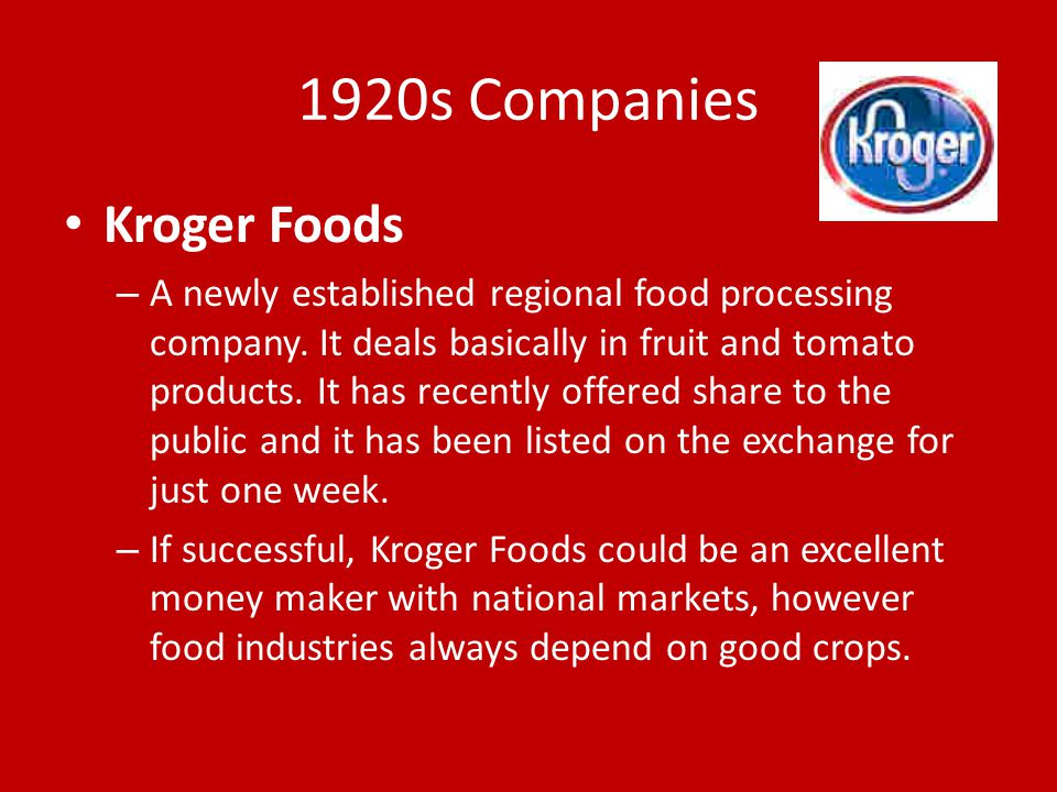 1920s Companies Kroger Foods