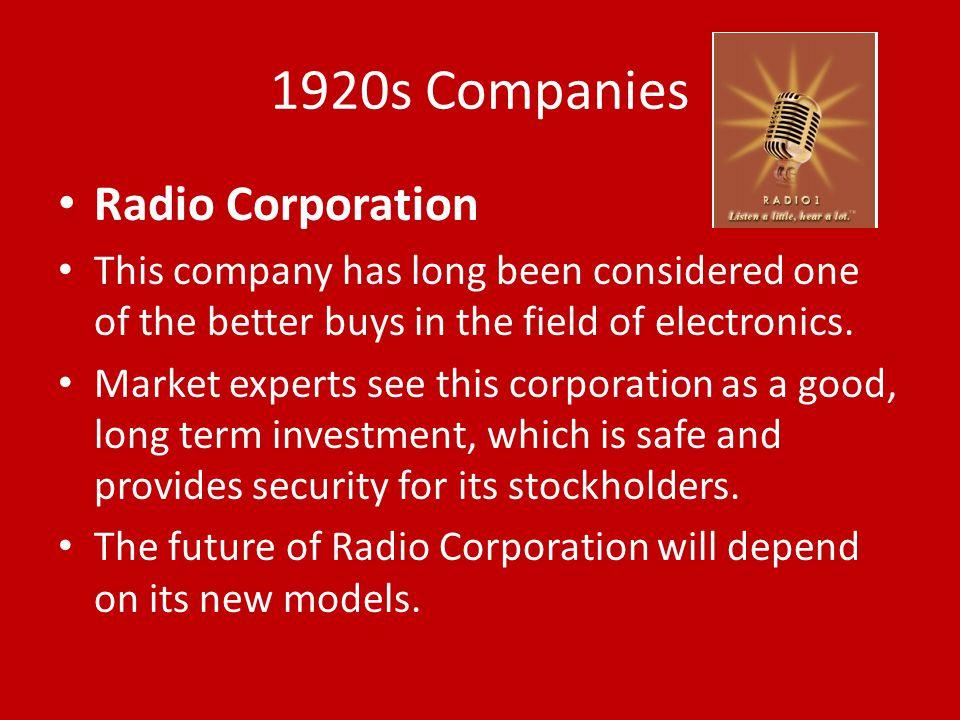 1920s Companies Radio Corporation