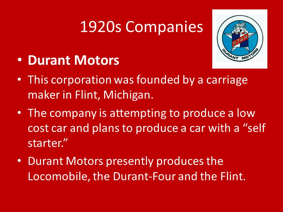 1920s Companies Durant Motors