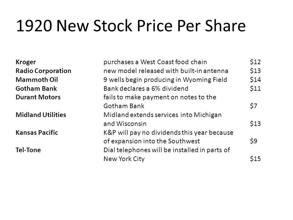 1920 New Stock Price Per Share