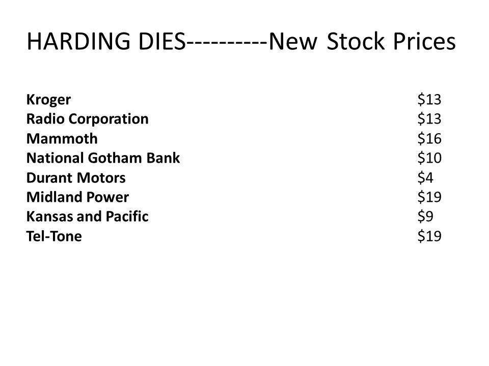 HARDING DIES----------New Stock Prices