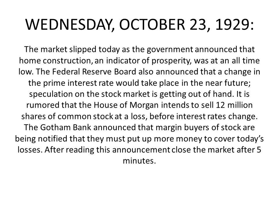 WEDNESDAY, OCTOBER 23, 1929: