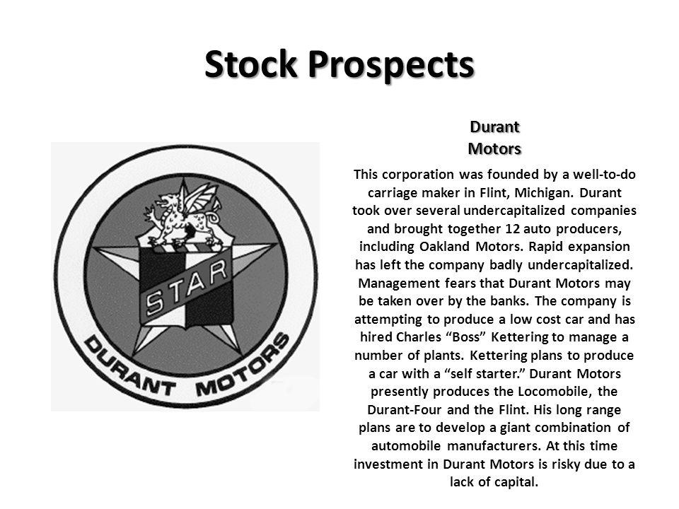 Stock Prospects Durant Motors