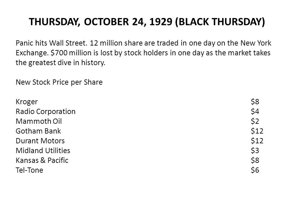 THURSDAY, OCTOBER 24, 1929 (BLACK THURSDAY)