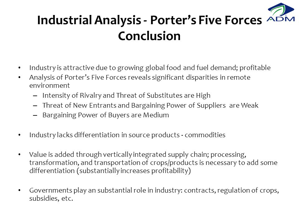 Industrial Analysis - Porter's Five Forces Conclusion