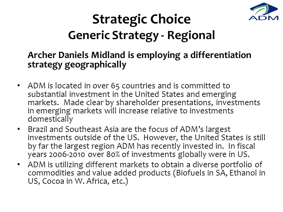 Strategic Choice Generic Strategy - Regional