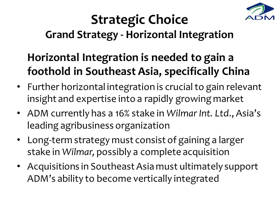 Strategic Choice Grand Strategy - Horizontal Integration