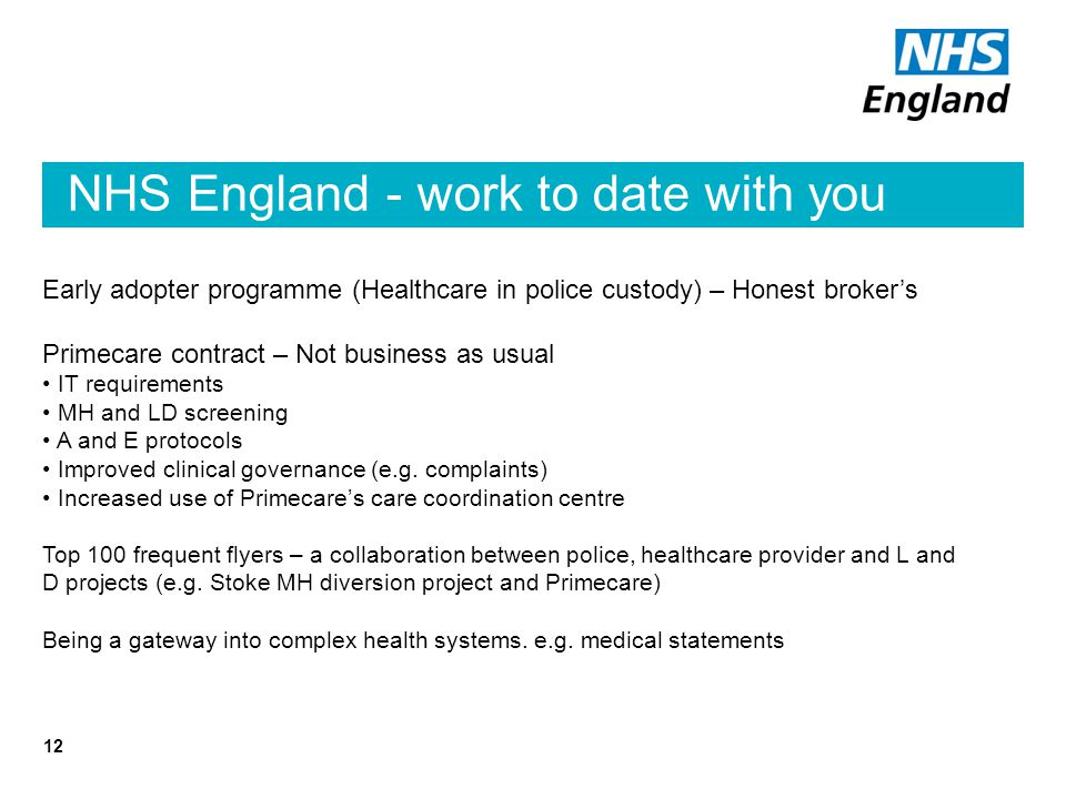 NHS England - work to date with you