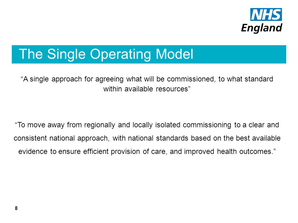 The Single Operating Model