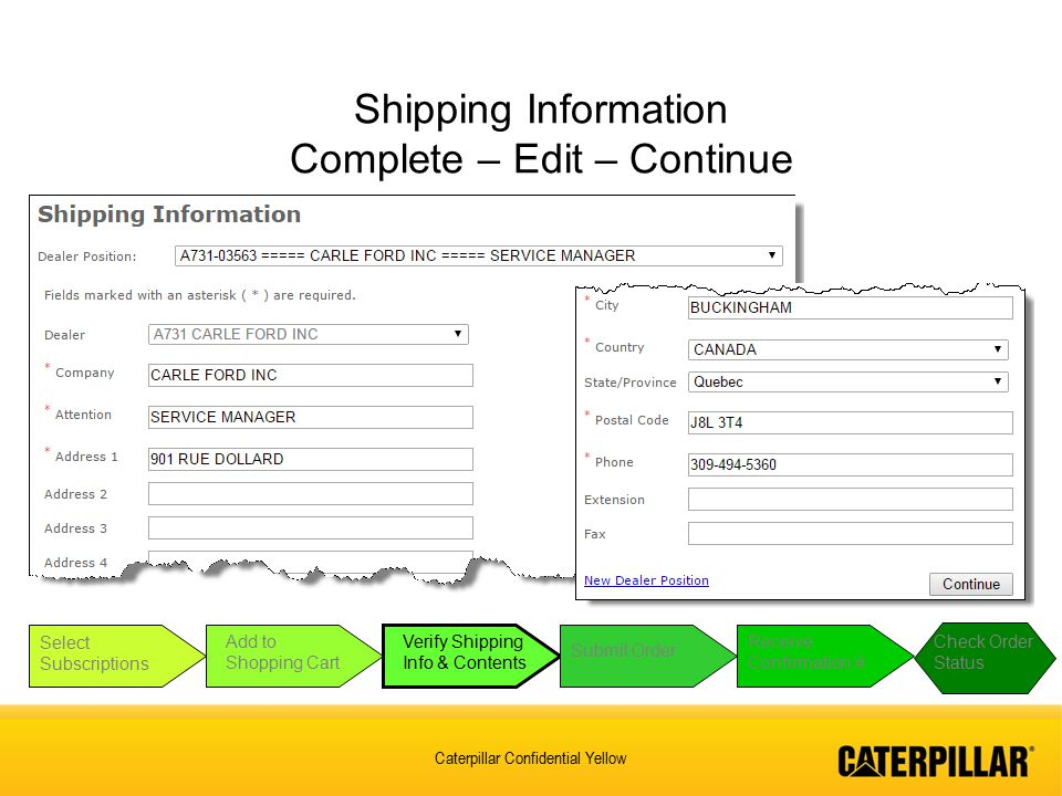 Shipping Information Complete – Edit – Continue