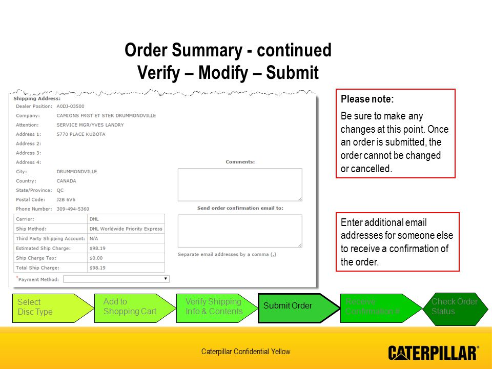 Order Summary - continued Verify – Modify – Submit